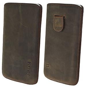 Samsung Galaxy S5 (SM-G900F) Original Suncase Leder Etui Tasche Handytasche Ledertasche Schutzhülle Case Hülle (mit Rückzuglasche - UVP 18.90€) antik-dark braun