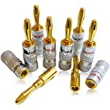 High End Nakamichi Banana Cable Plugs up to 6mm² 24 Carat Gold-Plated in Red / Black Set of 8