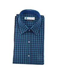 UBIQUE Black & Blue Cheque Full Sleeve Formal Shirt For Men (LME057)