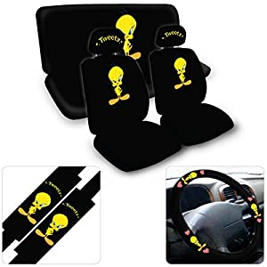 15 piece auto interior gift set a set of 2 seat covers 1 rear bench cover 1 steering wheel a. Black Bedroom Furniture Sets. Home Design Ideas