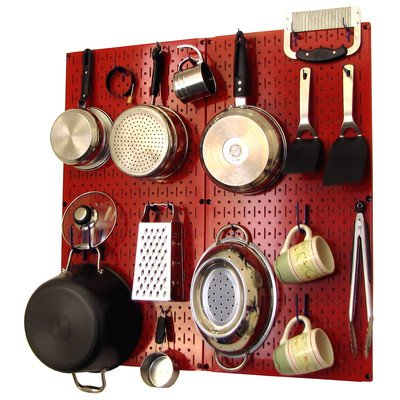 Wall Control Kitchen Pegboard Organizer Pots and Pans Pegboard Pack Storage and Organization Kit with Red Pegboard and B