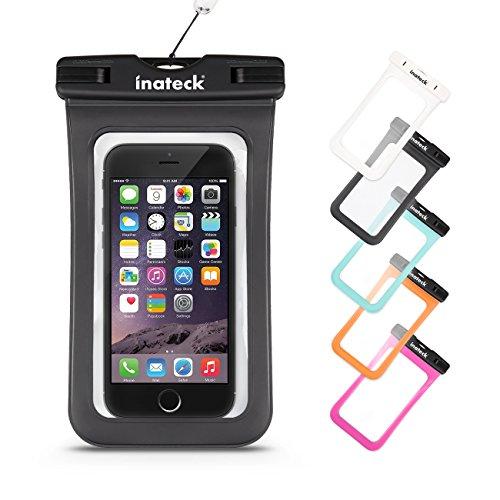 Inateck  iPhone6/6Plus/Xperia/GALAXY Note4/S4も入る最大5.7インチまで対応の大きめサイズのスマートフォン用防水ケース ラップ付 防水保護等級 : IPx7 お風呂でも - ブラック