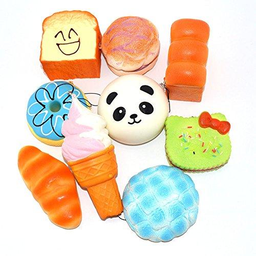 9PCS 10cm Jumbo Squishy Sweet Roll Panda Puffs Buns Bread Toast Toy Slow Rising