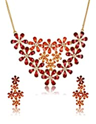 Estelle Gold Plated Necklace Set With Multi Color (7825)