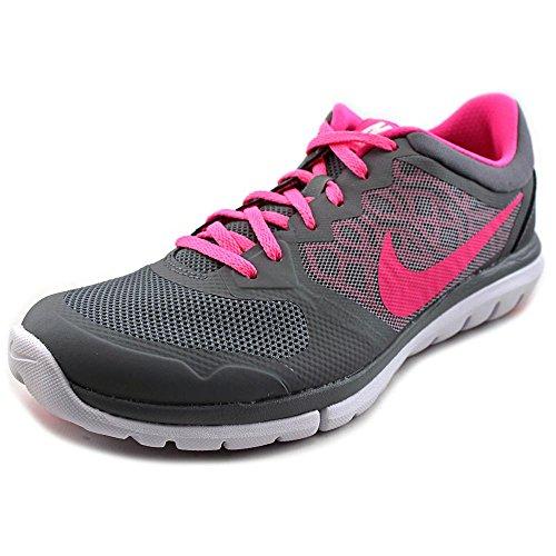 Nike Women's Flex 2015 Rn Cool Grey/Pink Pow/White Running Shoe 8 Women US