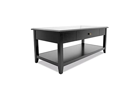 WES Home Furniture Coffee Table with Storage Drawer and Shelf, Tableau Series, 41-1/4 by 23 by 19-3/4-Inch, Black