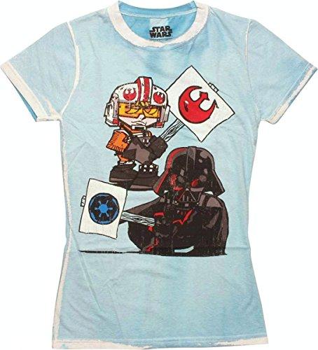 Star Wars Luke Skywalker Darth Vader Protest Women'S T-Shirt Medium Blue