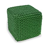 Green Knitted Cube Footstool - 100% Cotton