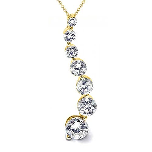 Bling Jewelry Gold Plated Love Journey CZ 925 Silver Pendant Necklace 16in