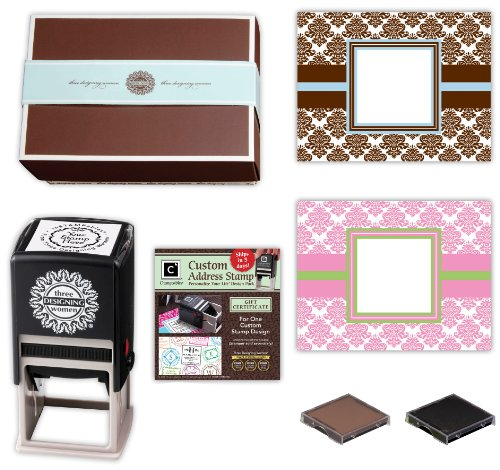 Three Designing Women Basket Design Stamp Gift Set, Damask