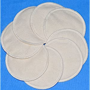 NuAngel Washable Nursing Pads 100% Cotton - Natural - 8 pads - Made in U.S.A. - 4 Thick Layers of Extra Soft, Absorbent 100% Cotton