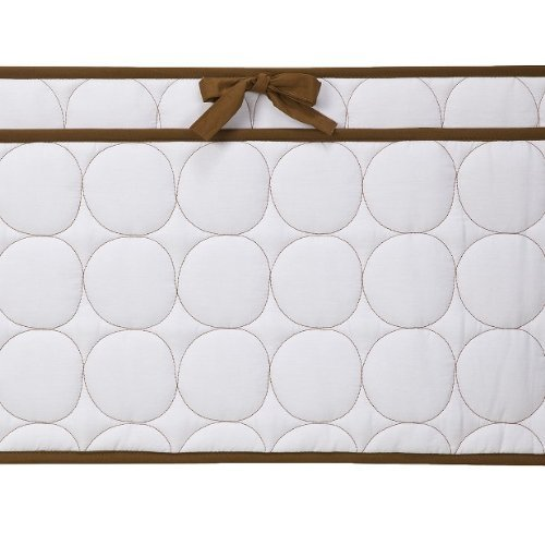 Bacati Quilted Circles White and Chocolate Bumper Pad