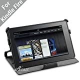 Acase Premium Slim Leather Case Folio with built-in Stand for Kindle Fire (Black)