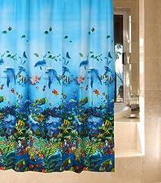 Vktech Blue Ocean Sea Submarine World Dophin Fishes Bathroom Waterproof Peva 71\
