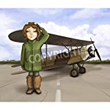 Artzloom Little Aviator Girl Standing Near Airplane, Smiling And Giving Salute, Digital Painting Canvas Art Print...