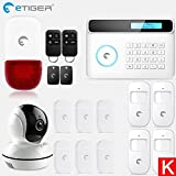 HITSAN etiger wireless gsm alarm system android ios app control home security alarm system with pir motion sensor ip camera SET K