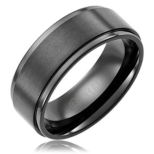 8MM Stainless Steel Promise Engagement Rings for Men