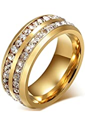 Mens Womens 8MM Titanium Stainless Steel High Polished 18K Gold Plated Channel Set Cubic Zirconia CZ Promise Engagement Band Unisex Gold Wedding Ring Comfort Fit, Size 6-14