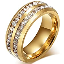 buy Mens Womens 8Mm Titanium Stainless Steel High Polished 18K Gold Plated Channel Set Cubic Zirconia Cz Promise Engagement Band Unisex Gold Wedding Ring Comfort Fit, Size 6-14