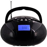 August SE20 - Mini Bluetooth Radio - Tragbarer Radiowecker und kraftvoller Lautsprecher mit SD Kartenleser, USB und AUX Eingang - 2x3W Lautsprecher, integrierter aufladbarer Akku (schwarz)