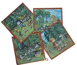 Döll-Verlag Fairytale Napkins for Children's Birthday Parties (Pack of 20) Hansel and Gretel, Little Red Riding Hood, Town Musicians of Bremen, the Wolf and the Seven Kids