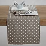 La Redoute Interieurs Garden Party Polka Dot Print Cotton Table Runner Brown Size 45