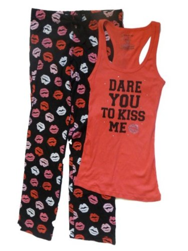 No Boundaries Womens Lipstick Kisses Sleep Pants & Tank Pajamas Set Lips PJs