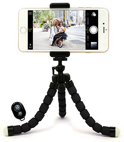 Bastex Universal Compact Flexible Octopus Style Black Tripod Stand Holder/Mount with Adapter for Smartphone / Digital Camera / GoPro Hero All Versions - Includes Remote (Canon Sx50 Hs Remote compare prices)