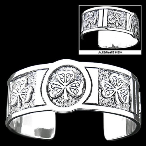Pewter Shamrock and Trinity Knot Cuff Bracelet - For Men & Women, Exceptional!