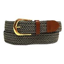Luxury Divas Navy Beige Braided Elastic Stretch Leather Tipped Belt Size Large