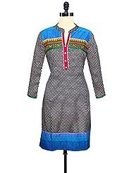 Unnati Silks Women Pracheen Kala Black Cotton Printed Kurta - B00WMKWYZ0