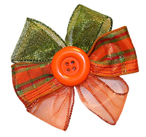 Webb Direct 2U Girls Large Button Harvest Plaid Hair Bow Alligator Clip (8011A) front-789168