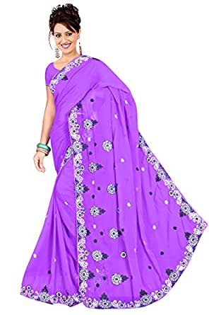 HSFS FAUX GEORGETTE EMBROIDERED SAREE available at Amazon for Rs.499