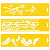 Set of 3 - 30cm x 8cm Reusable Flexible Plastic Stencils for Cake Design Decorating Wall Home Furniture Fabric Canvas Decorations Airbrush Drawing Drafting Template - Feathers Bamboo Leaves Tree