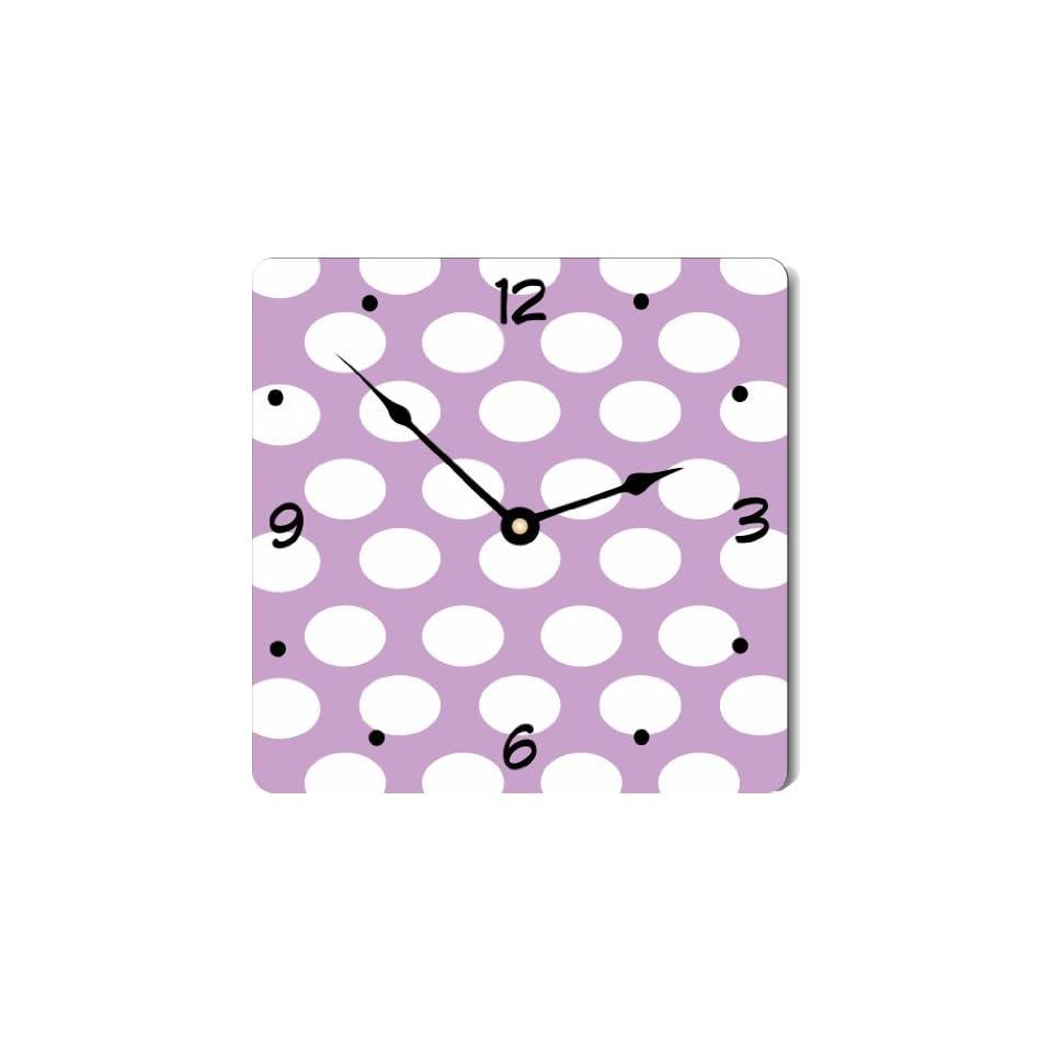 "Rikki KnightTM Easter Purple Polka Dots Design 10"" Art Wall Clock"