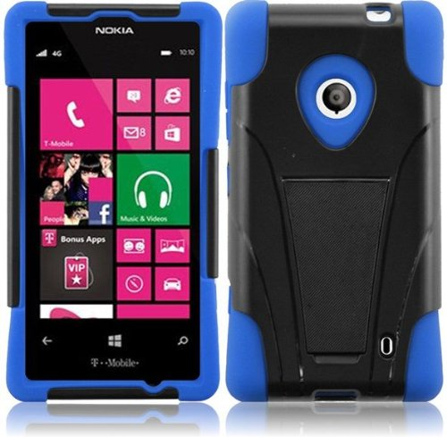 Pleasing-Blue-Premium-Double-Protection-2-in-1-Hard-Silicon-Hybrid-Challenger-Case-Cover-Protector-with-Kickstand-for-Nokia-Lumia-521-520-by-AT-T-Metro-PCS-T-Mobile-with-Free-Gift-Reliable-Accessory-Pen