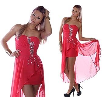 cocktailkleid abendkleid vokuhila kleid mit chiffon schleier koralle rot s 34. Black Bedroom Furniture Sets. Home Design Ideas