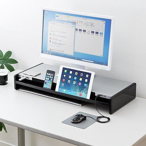 サンワダイレクト モニター台 机上台 USBハブ搭載 引き出し iPad&スマホスタンド内蔵 幅67cm 100-MR102