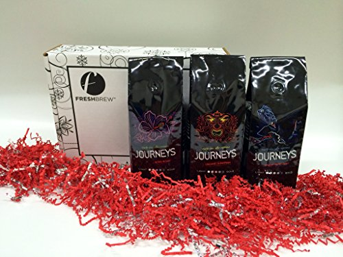 Coffee Holiday Gift Box Set, Organic Sumatran, Organic French Roast, Kona Roast