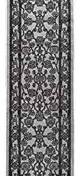Custom Size GREY Egyptian Print Traditional Persian Rubber Backed Non-Slip Hallway Stair Runner Rug Carpet 22 inch Wide Choose Your Length 22in X 20ft