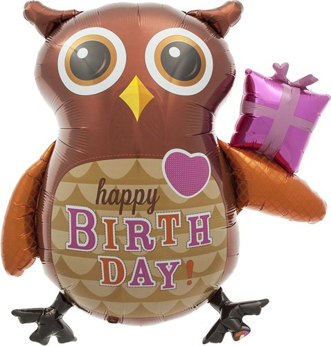 Birthday Owl Helium Foil Balloon - 36 inch - 1