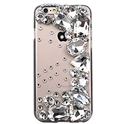 iPhone 6S Plus Case, STENES Luxurious Crystal 3D Handmade Sparkle Diamond Rhinestone Clear Cover with Retro Bowknot Anti Dust Plug - Half Moon / White