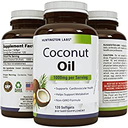 Pure Organic Coconut Oil - Natural Supplement for Heart Health - Supports Normal Blood Sugar & Cholesterol Levels - Cold Pressed & Extra Virgin - 1000mg - 120 Softgels - By Huntington Labs.
