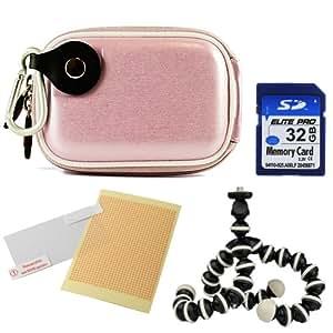 Vangoddy Compact Slim EVA Camera Case for Fujifilm FinePix Z115 Z1010EXR Z1000EXR Z110 Z900EXR Z90 Z91 Z800EXR Z808EXR Z700EXR Z707EXR Z35 Z37 Z300 Z33WP Z30 Z200FD Z100fd Point and Shoot Digital Cameras + 32GB Memory Card + Mini Tripod + Screen Protector (Glossy Pink)