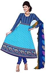 Blue Color Crepe Straight Salwar Suit Unstitched Dress Materials