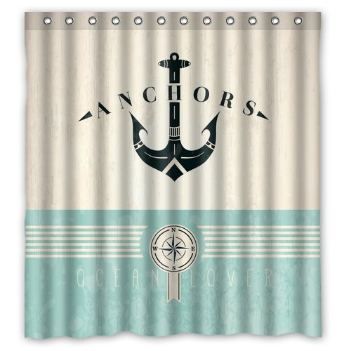 "Fashion Nautical Anchor Waterproof Bathroom Fabric Shower Curtain,Bathroom Decor 66"" X 72"" front-627458"