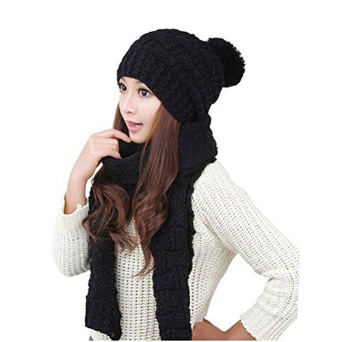LEORX Donna inverno maglia addensare Hat berretto e sciarpa Set (nero)