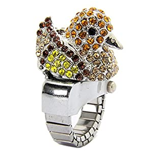 E-Future More Color Diamond Duck Shape Unisex Quartz Ring Watch Main Yellow