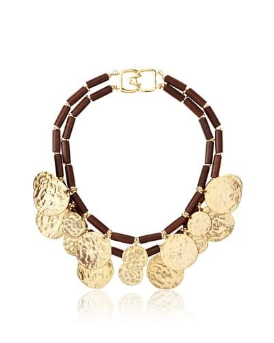 Kenneth Jay Lane Wooden Gold Coin Necklace
