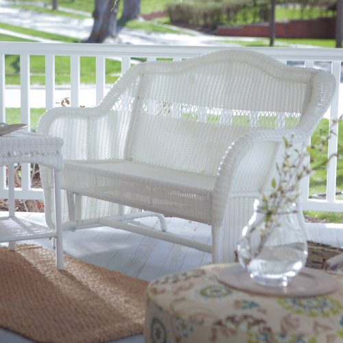 Coral Coast Coral Coast Casco Bay Resin Wicker Outdoor Glider Loveseat, White, Resin Wicker front-847814